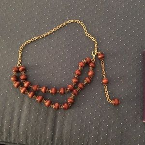 """Accessories - VTG """"Chain"""" Belt Brown Wood Beads Gold tone Chain"""